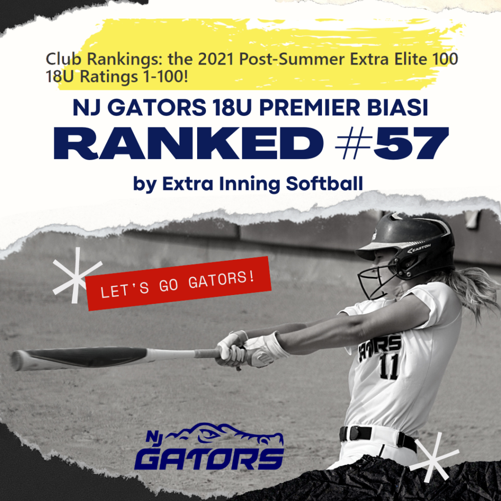 NJ Gators 18U Premier Biasi Ranked #57 by Extra Inning Softball